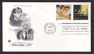 US First Day Cover Mary Cassatt & Edward Hopper Historical Figures American Art