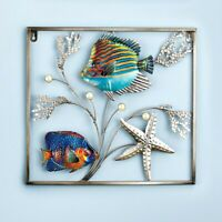Metal Coastal Fish Starfish Seaside Metal Wall Art Sculpture Hanging Home Decor