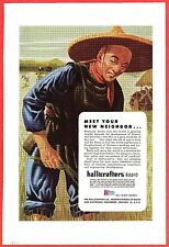 1944 WWII Advertisement ~ HALLICRAFTERS Radio ~ Chinese Rice Planter in China;
