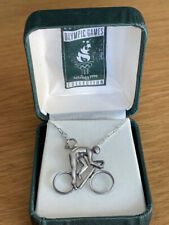 More details for rare olympic games collection atlanta 1996 sterling silver cyclist pendant/chain