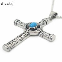 MENDEL Mens Celtic Norse Turquoise Cross Stainless Steel Necklace Gothic Pendant