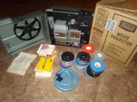 Sears Super 8 movie projector 8MM Dual Film Projector original Box & 30 Movies