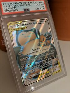 Pokemon Full Art Team Up Card - Eevee & Snorlax GX 171/181 PSA 10 GEM MINT