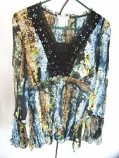 Alberto Makali Sparkly Crinkle Pleated Blue Yellow Black Top XL