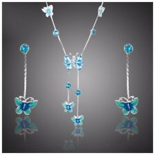 S5 Made With Swarovski Crystals The Dunia Blue Butterfly Necklace Set $144