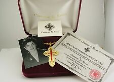 Jackie Kennedy Russian Cross Pendant Necklace w/romance card/photo/certificate