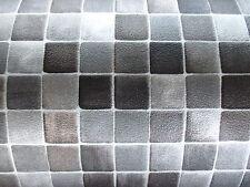 PVC 9,50€/m² CV Bodenbelag Mosaik Fliese anthrazit silber grau 200 cm Boden