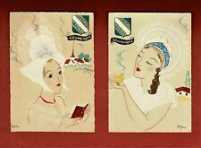 Two Unused Vintage French Postcards - Champagne