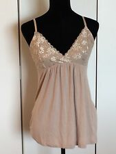 Tahari Tan Lace Bodice Spaghetti Strap Sleeveless Tank Top Size Small