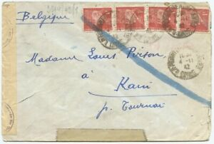 France, WWII, 1942 Cover to Belgium w/Cologne Censor, Chemical Streaks