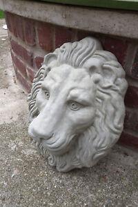 Lion Head Concrete Sculpture Plaque Wall Fountain Relief Spout (Light gray)