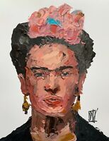 Original Abstract Portrait Frida Kahlo Palette Knife Painting Wall Art 11x14