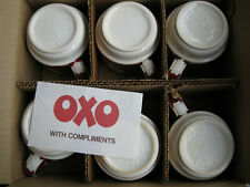 More details for set of 6 vintage retro oxo cubes red & white stoneware mugs, in box