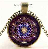 Vintage Flower of Life Photo Cabochon Glass Dome Bronze Pendant Necklace Fashion Necklaces & Pendants