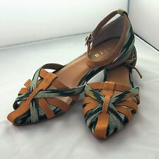 NEW WOMENS UK *SIZE 4 / EU 37* GREEN & GOLD STRAP SANDALS LADIES SHOES by Saira