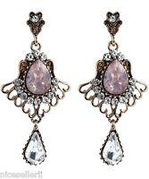 1 Pair Elegant Pink Crystal Rhinestone  Ear Drop Dangle Stud long Earrings 211