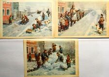 Posters Set 3 pcs Children Winter Snow Sledging Russian Illustration 1950s