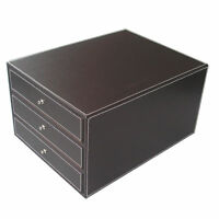 Home Office PU Leather Filing Drawer Desk Organizer Files Cabinets Holder Box
