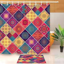 """Paisley Patchwork Flower Waterproof Fabric Bath Shower Curtain Hooks Mat 60/72"""""""