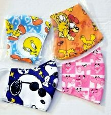 4 Adult FACE COVER MASK cartoon Tweety + Garfield + Snoopy + Pink panther SET +
