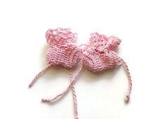 "OOAK light Pink  Baby Booties Baby Shoes Crochet Booties Preemie size Shoes 2 """