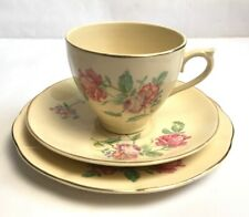 More details for vintage antique cups and saucer trio w m hulme floral design made in england