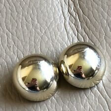 Vintage Retro Gogo 1960s Style Gold Coloured Round Clip On Earrings Party Prom