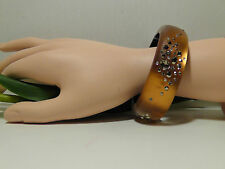 Alexis Bittar Amber Lucite 'Sepia Dust' Medium Hinged Bracelet.******NEW*******