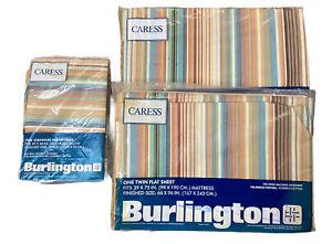 Vtg Burlington Caress 2 Twin Flat Sheets 2 Pillowcases BRITANNICA Pattern Stripe