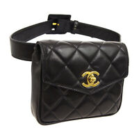 CHANEL Quilted CC Logos Waist Bum Bag Black Leather Vintage Authentic O02605e