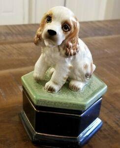 RARE! Vtg Takahashi MCM Cocker Spaniel Figurine Dog Jewelry Box Urn Porcelain