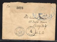 Great Britain Purfleet Canada Ship Depot Postage Due to Us Censor 1917 a995