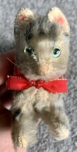 "Rare Miniature Steiff Herman 5"" Mohair Running  Kitty Cat Non Jointed No ID Cute"