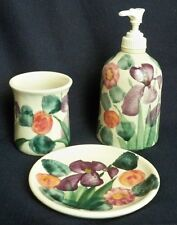 Vintage Handcrafted Bath Set Purple Iris Soap Dish Water Glass Lotion Dispenser