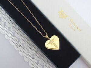 LADIES GOLD HEART SOS NECKLACE/PENDANT MEDICAL ALERT/STAINLESS STEEL TALISMAN