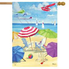 """Umbrella Coast Summer House Flag Nautical Shoreline 28"""" x 40"""" Briarwood Lane"""