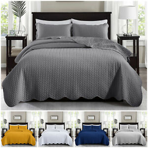 3 Piece Embossed Quilted Bedspread Bed Throw Comforter Single Double King Size