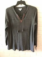 New Style & Co Woman's Lace Up Thermal Pullover Top   Grey   Plus    G18