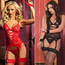 Lady Sexy Lingerie Lace Babydoll G-String Thong Underwear Sleepwear+Stocking UK