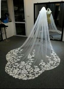 1 Tier 3M Cathedral Length Bridal  Scallope Wedding Veil Sequins Lace With Comb