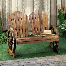 Wagon Wheel Slat-Back Garden Bench, Rustic, Seats 2