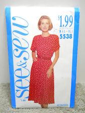 Butterick See & 'N Sew Pattern 5538 Vintage 1990's Womens Dress Sizes L-XL Uncut