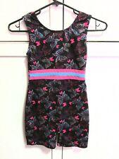 Used Danskin Dance Legs Sleeveless Leotard Butterflies Black Pink Girl's L 10 12