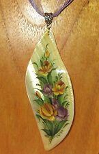 Russian hand painted SHELL LEAF PENDANT Zhostovo FLOWERS UNIQUE signed KOPYOVA