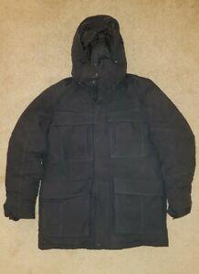 Eddie Bauer Goose Down Black Polar Artic Coat Jacket Parka Winter Ski Mens M MED