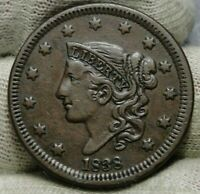 1838 Penny Coronet Large Cent 1C - Nice Coin, Free Shipping  (8638)