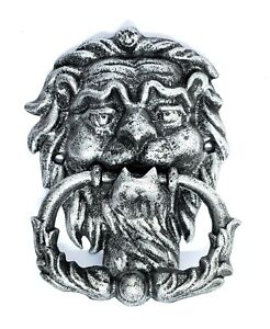 Lion Head Door Knocker Large Cast Iron Antique Style Silver Black Finish Decor