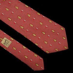 HERMES 7997 EA Moon Stars Silk Tie Light Red Gold Birds