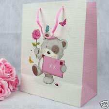 Birthday Large Gift Bag Toggles Bear Rose Pink Present Mum Mummy Gran Nan Cute