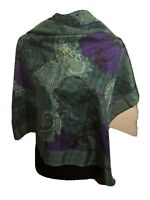 """Christian Dior Vintage 100% Silk Scarf 31"""" Square Purple Green Floral Paisley"""